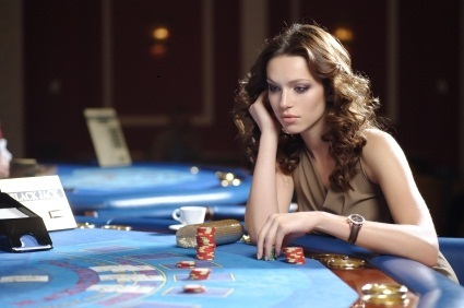 lady playing poker